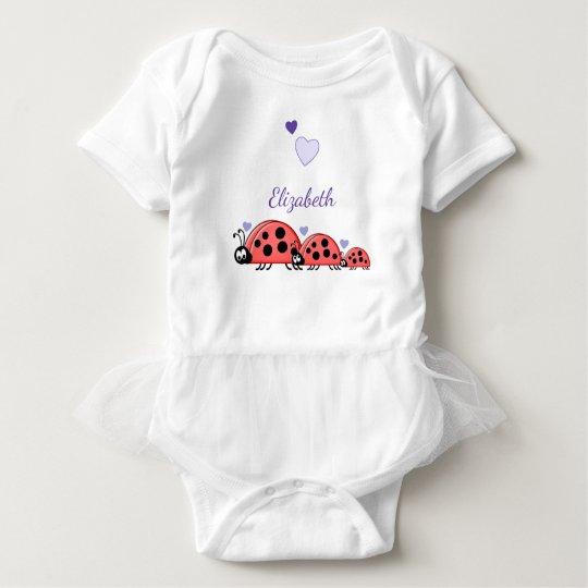 Personalized baby girl ladybirds tutu purple baby bodysuit