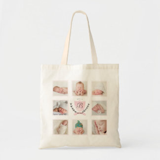 PERSONALIZED BABY GIRL PHOTO COLLAGE WITH WREATH TOTE BAG