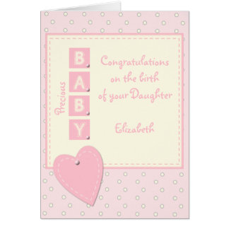 Personalized Baby Girl pink Card