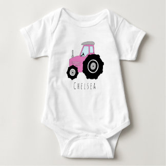 Personalized Baby Girl Pink Farm Tractor with Name Baby Bodysuit