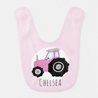 Personalized Baby Girl Pink Farm Tractor with Name Bib