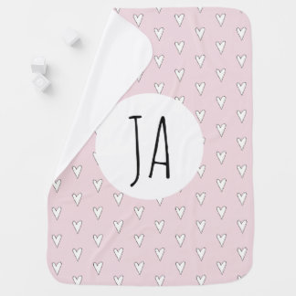 Personalized Baby Girl Pink Heart Pattern Monogram Baby Blanket