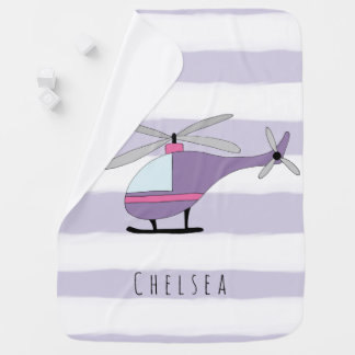 Personalized Baby Girl Purple Helicopter and Name Baby Blanket