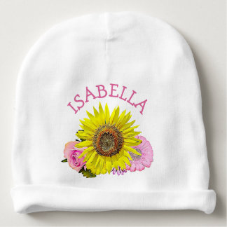 Personalized Baby Girl Sunflower Newborn Cap Baby Beanie