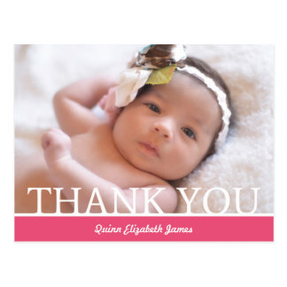 Personalized Baby Girl Thank You Card - 4.25 x 5.6 Postcard