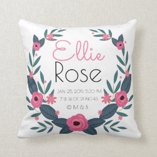 Personalized Baby Girl Wreath Birth Record Stats Throw Pillow