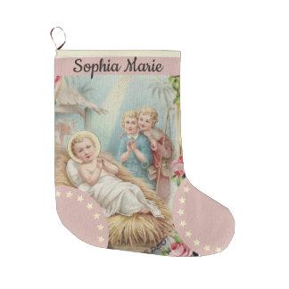 Personalized Baby Jesus in Manger Girls Large Christmas Stocking