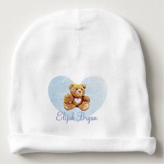 Personalized  Baby Name Blue Teddy Bear Babys Cap Baby Beanie