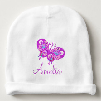 Personalized  Baby Name Purple Butterfly Babys Cap Baby Beanie