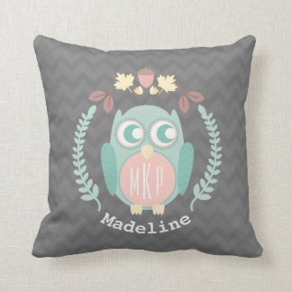 Personalized Baby Owl Wreath Pillow - Girl