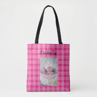 Personalized Baby Photo and Name Pink Plaid Tote