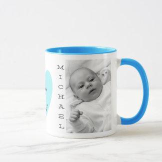 Personalized Baby Photo Blue Handle Coffee Mug