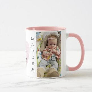 Personalized Baby Photo Pink Handle Coffee Mug