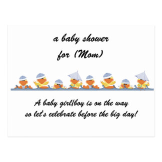 Personalized Baby Shower Invitations-Little Ducks Postcard