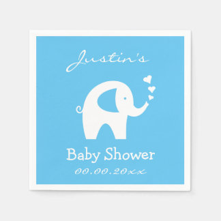 Personalized baby shower napkins with elephant paper napkins