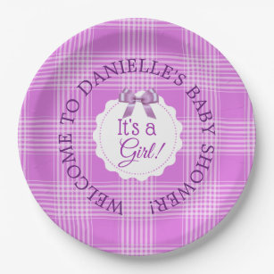 Personalized Baby Shower Purple Plaid Paper Plates  sc 1 st  Zazzle CA & Plaid Paper Plates | Zazzle.ca