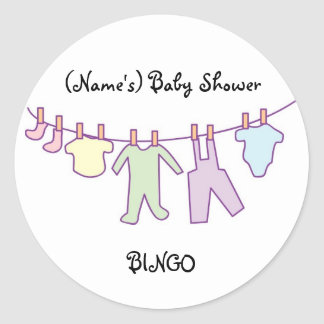 Personalized Baby Shower Sticker-Clothesline Classic Round Sticker