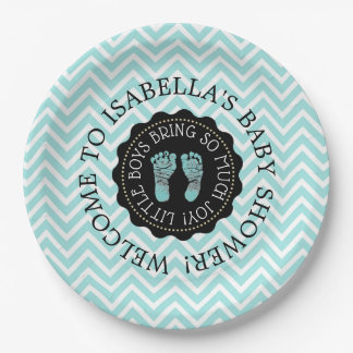 Personalized Baby Shower Teal Chevron Paper Plates