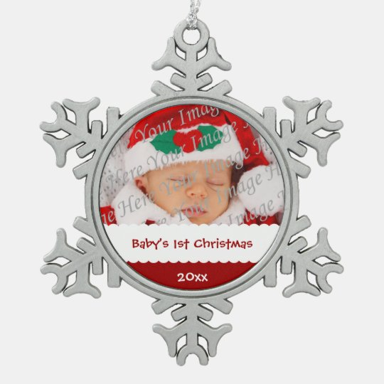 Personalized Baby's 1st Christmas with Photo Snowflake Pewter Christmas Ornament