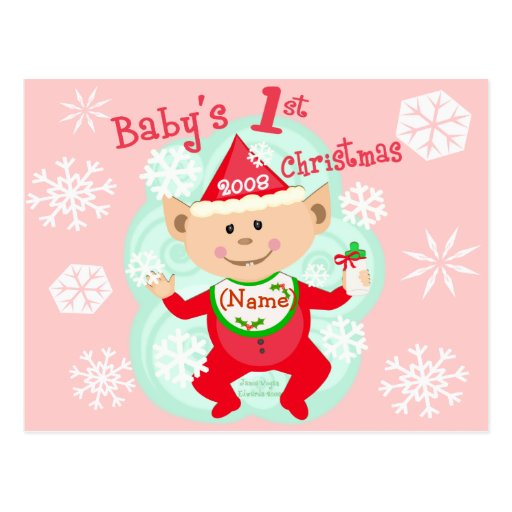 Personalized Baby's First Christmas Postcards