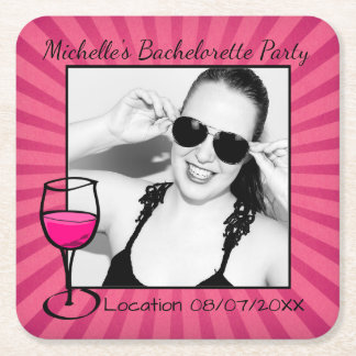 Personalized Bachelorette Framed Square Paper Coaster