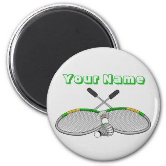 Personalized Badminton Player Crossed Racquets Magnet