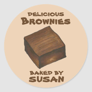Personalized Baked By Chocolate Brownie Stickers