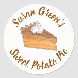 Personalized Baked By Sweet Potato Pie Slice Classic Round Sticker
