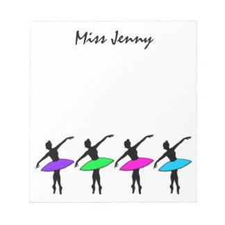 Personalized Ballerina Ballet Dance Notepad