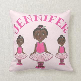 Personalized Ballet Bedroom Pink Tutu Girl Dancer Throw Pillow