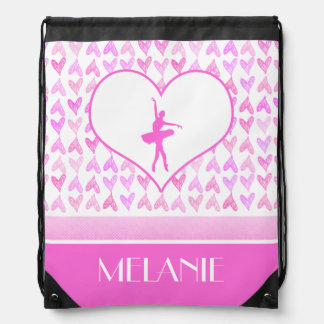 Personalized Ballet Dancer Pink Watercolor Hearts Drawstring Bag