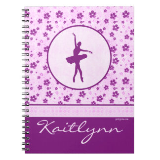 Personalized Ballet Dancer Purple Heart Floral Spiral Note Book