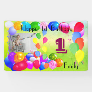 Personalized Balloons Design Happy 1st Birthday Banner