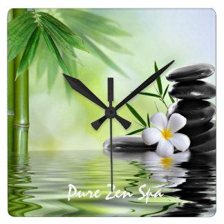 Personalized Bamboo Zen Stones Water Plumeria Wall Clocks