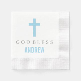 Personalized Baptism Napkin | Blue Cross Paper Napkins