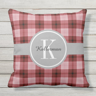 Personalized Barn Red Plaid Throw Pillow