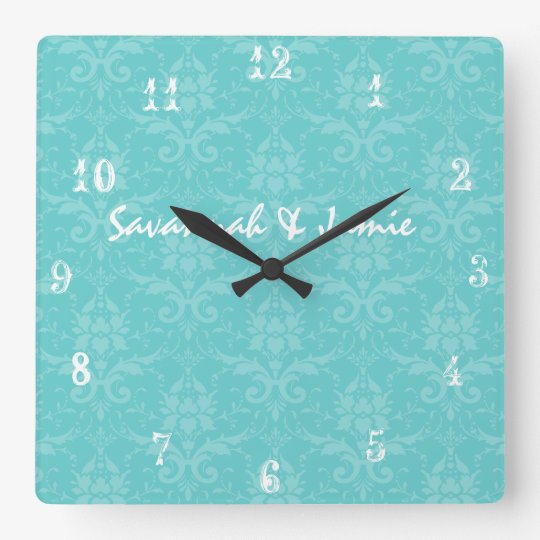 Personalized Baroque Aqua Damask Clock