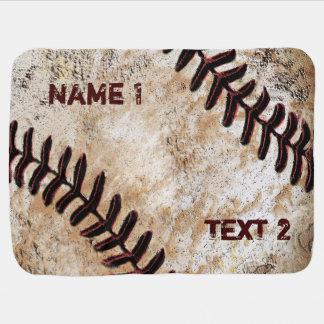 Personalized Baseball Baby Blanket Vintage Decor