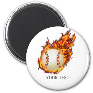 Personalized Baseball Ball on Fire 2 Inch Round Magnet