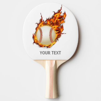 Personalized Baseball Ball on Fire bat Ping Pong Paddle