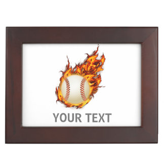 Personalized Baseball Ball on Fire jewelery box Keepsake Boxes