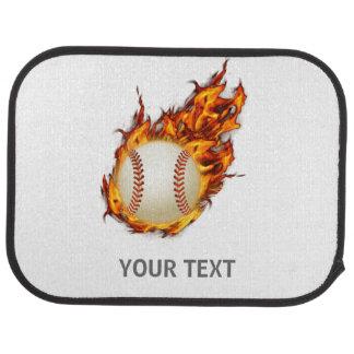 Personalized Baseball Ball on Fire mat
