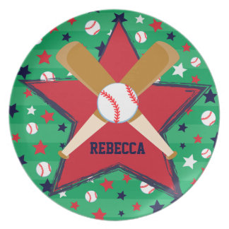 Personalized Baseball bats ball and stars Plate