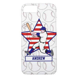 Personalized Baseball batter 2 Star and stripes iPhone 7 Case