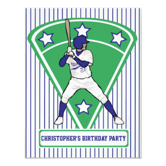 Personalized Baseball Batter Star Blue Card