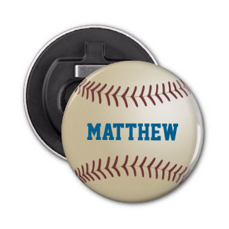 Personalized Baseball Button Bottle Opener