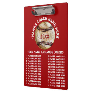 Personalized Baseball Coach Gifts in Your Colours Clipboard