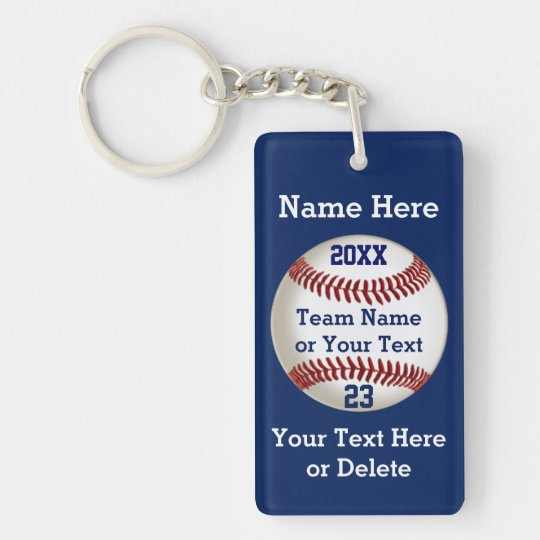 Personalized Baseball Gifts for Players 5 Text Box Double-Sided Rectangular Acrylic Keychain