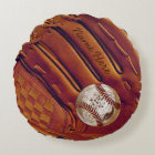 Personalized Baseball Glove Pillow, Dirty Baseball Round Pillow