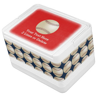 Personalized Baseball Igloo Cooler, Red and Blue